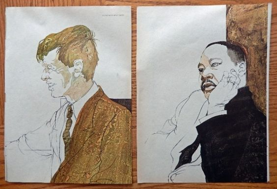 Robert Kennedy  Martin Luther King  60 s Full Page Color Illustration Print art by Shelly Canton