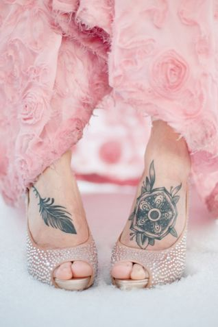 bride with foot tattoos