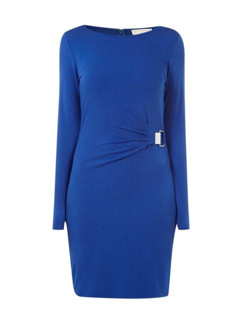 Kleid mit Drapierung im Taillenbereich Blau / Türkis - 1