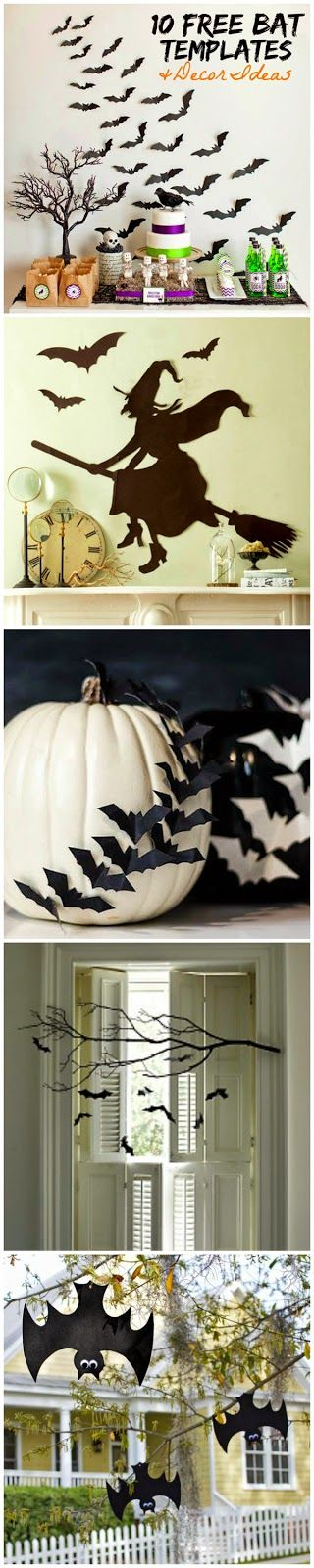free bat and witch templates for Halloween...:
