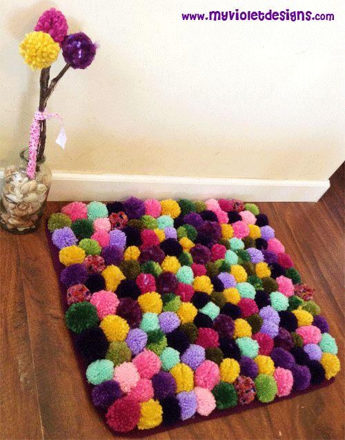 Alfombras de pompones coloridas con flores de pompones - Alfombra de pompones ...