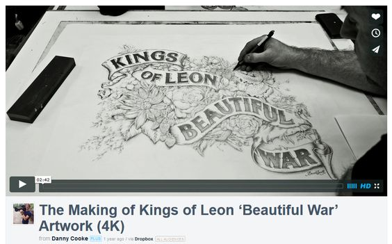 Captured over a period of 6 days and made up of over 300GB's of still photographs,  Danny Cooke's short film showcases LHF contributor David Smith's (http://www.letterheadfonts.com/fonts/artists/davesmith.php) hand-rendered illustration of the 'Kings of Leon', 'Beautiful War' single cover. See his video here: http://evpo.st/1GE1hT6