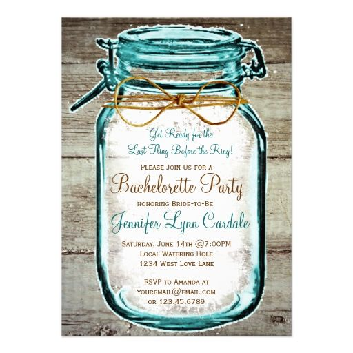 Mason Jar Rustic Wood Bachelorette Party Invites Invite