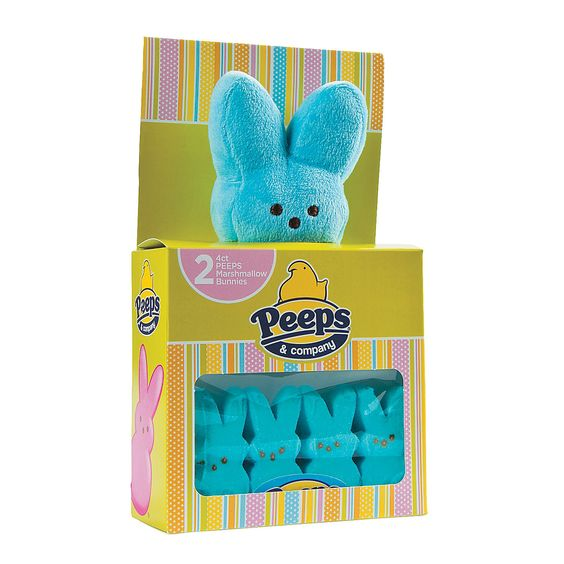 Peeps® Blue Plush Bunny with Marshmallow Bunnies - OrientalTrading.com