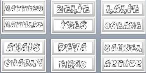 Etiquettes prénom à décorer
