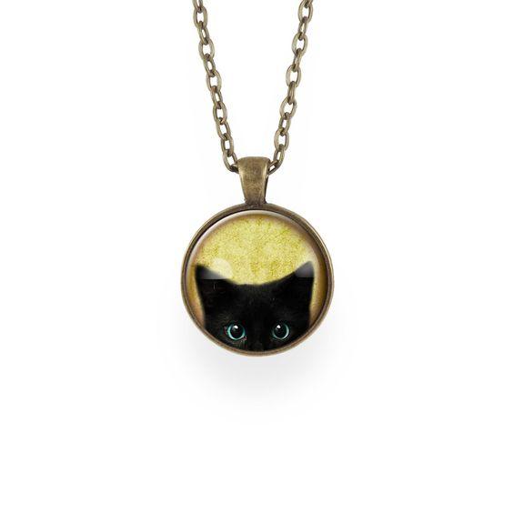 Handmade black cat necklace.
