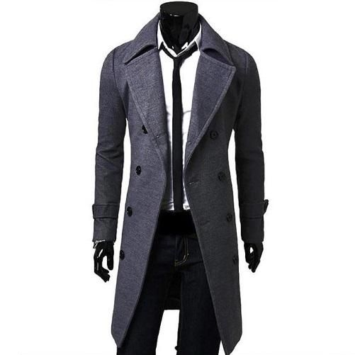 Allywit Mens Wool Trench Coat Winter Business Suits Quality Long Top Coat Jacket