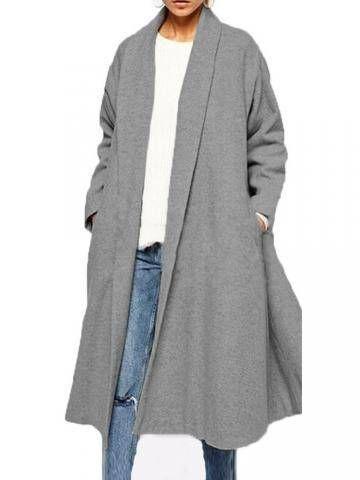 Oversize Plus Lapel Neck Gray Long Sleeve Pockets Coat