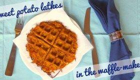 Spiralized sweet potato latkes... in the waffle-maker!