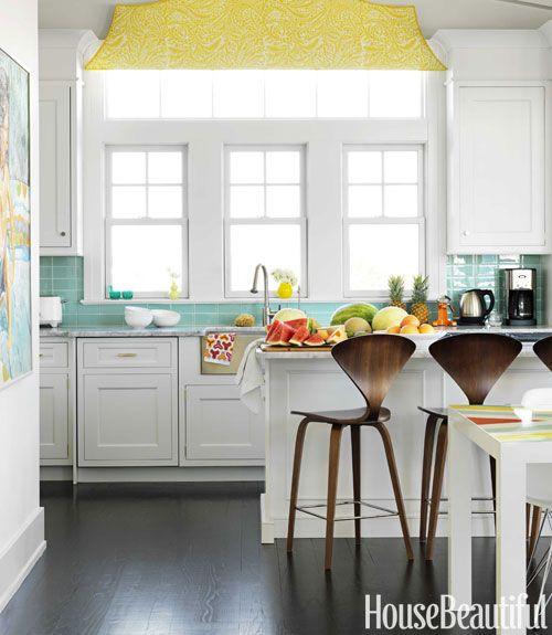 yellow, turquoise, kitchen,