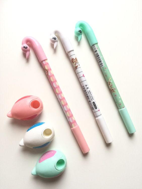 Set di 3 penne gel di Swan di SwciStationery su Etsy