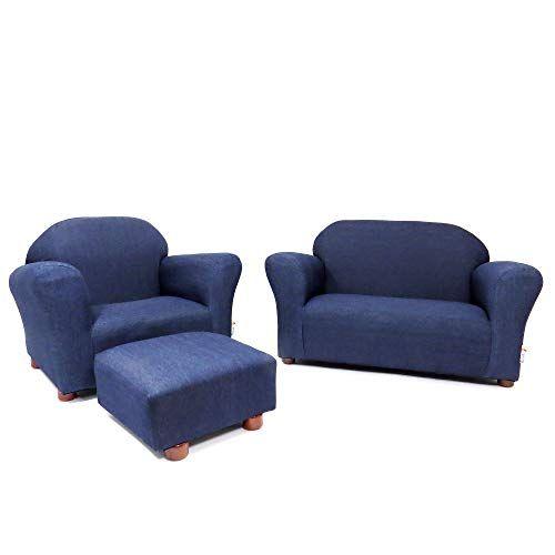 Keet Roundy Denim Children S Chair Sofa And Ottoman Set Denim Blue 33 Pounds Childrens Chairs Kids Sofa Chair Ottoman Set