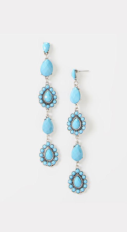 Turquoise & Silver Teardrop Earrings