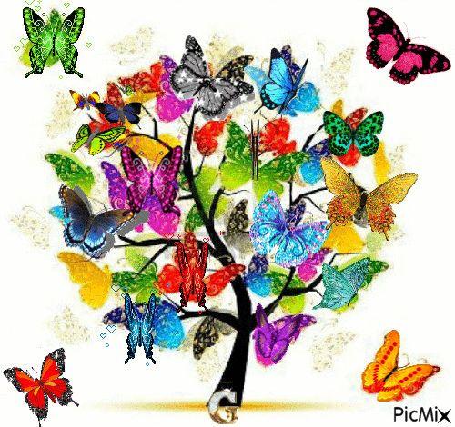 Mariposas y flores: