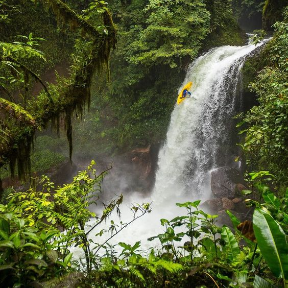 "Extreme Photo of the Week by @jaspergibson ""These guys are next level says photographer Jasper Gibson of this photo he took of kayaker @aniolserrasolses dropping off a 70-foot waterfall called Twisted Pleasure on the Jalacingo River near Veracruz Mexico. ""They are in the middle of the jungle maybe a mile or two away from transportationit would be terrible to get hurt out there. It is inspiring to watch professional athletes that are at the top of their sport pushing the limits of what is…"