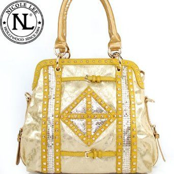Nicole Lee Joanne Metallic Geometrics Tote Hollywood Celebrity Studded Shoulder Tote Handbag in Yellow Gold,