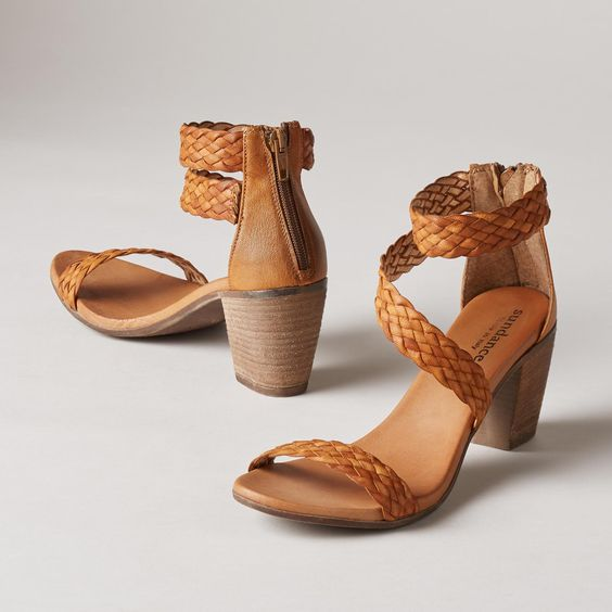 """BONAIRE SANDALS--Our stacked heel sandals take woven leather to new heights with asymmetrical, crossover straps, padded, leather insoles and convenient back zips. Italy. Exclusive. Euro whole sizes 36 to 41. 2-1/3"""" heel."""