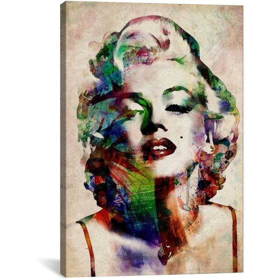 iCanvas Michael Thompsett Watercolor Marilyn Monroe Canvas Print Wall... (¥11,655) ❤ liked on Polyvore featuring home, home decor, wall art, marilyn monroe wall art, marilyn monroe home decor, watercolor wall art and colored wedges