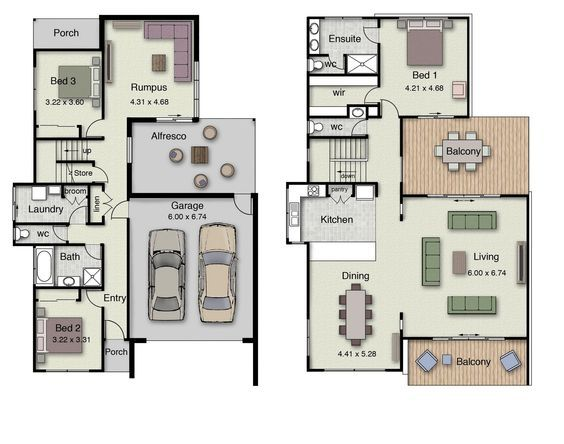 Double Story 3 Bedrooms Inverted Living To Take Advantage Of Local Views House Plans Australia House Floor Plans House Plans