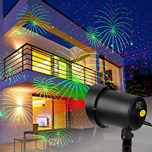 Christmas Laser Lights Projector Fireworks And Red Stars Laser Motion Light Auto Pattern Beam Xmas Lights Outdoor Waterproof For Christmas Holiday Party Land Laser Lights Projector Laser Christmas Lights Motion Lights
