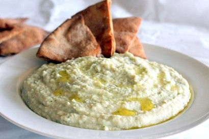 Garlic White Bean Basil Hummus and Homemade Toasted Pita Chips | Tasty Kitchen: A Happy Recipe Community!