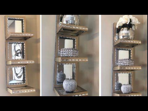 Dollar Tree Diy Easy Inexpensive Gold Mirrored Wall Shelf Youtube Diy Dollar Tree Decor Diy Crafts For Home Decor Wall Mirror With Shelf