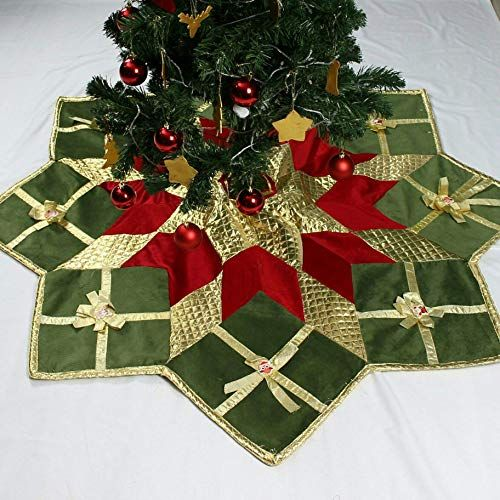 Amazon Com 60 Inches Tree Skirt Patchwork Christmas Tree Skirt Christmas Gift Box Quilted Tree Skirt Hand Christmas Tree Skirt Christmas Gift Box Tree Skirts