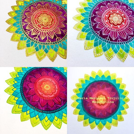 By Maga Merlina The Three Versions And The Original Mandala In Watercolor Without Ink Line Work