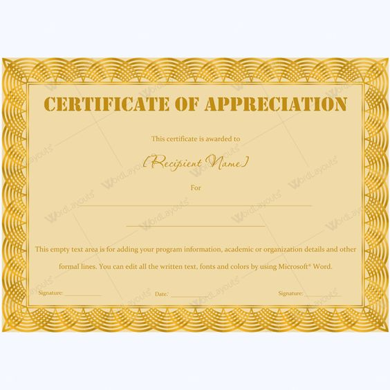 Certificate Of Appreciation Wording Examples – Certificate of Appreciation Wording Examples