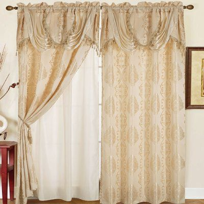 Astoria Grand Anderle Damask Jacquard Floral Flower Semi Sheer Rod Pocket Single Curtain Panel Panel Curtains Curtains Colorful Curtains