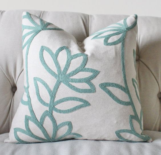 Modern Floral Pillows : Sea Foam Green Pillow - Modern Floral Pillow Cover - Mineral Green Throw Pillow - Designer ...