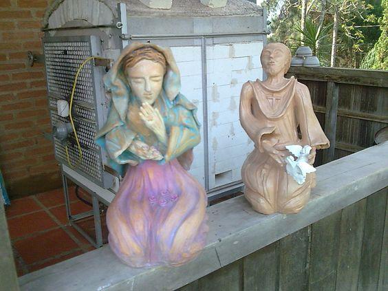 escultura em cerâmica,queima em biscoito e pintura em pátina .vendidas
