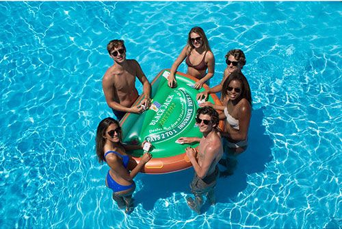 Swimline S Inflatable Swim Up Blackjack Table Includes As Standard Deck Of Waterproof Playing Card Swimming Pool Games Cool Swimming Pools Swimming Pool Floats