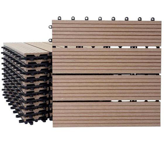 1qm Wpc Holz-fliesen Sarthe, Bodenfliesen Balkon Terrasse, Teak ... Coole Holz Fliesen