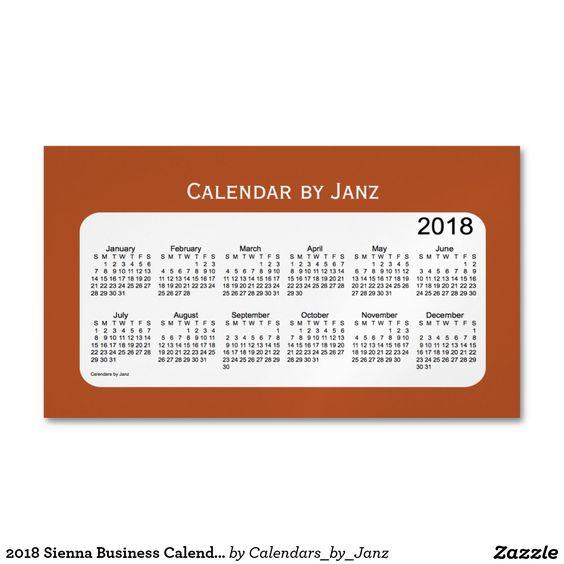 2018 Sienna Business Calendar By Janz Magnet Business Calendar