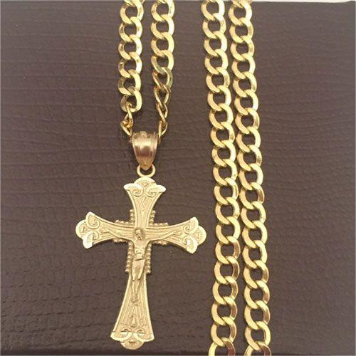Exquisite 10k Gold Jesus Crucifixion Cut-Out Charm Pendant