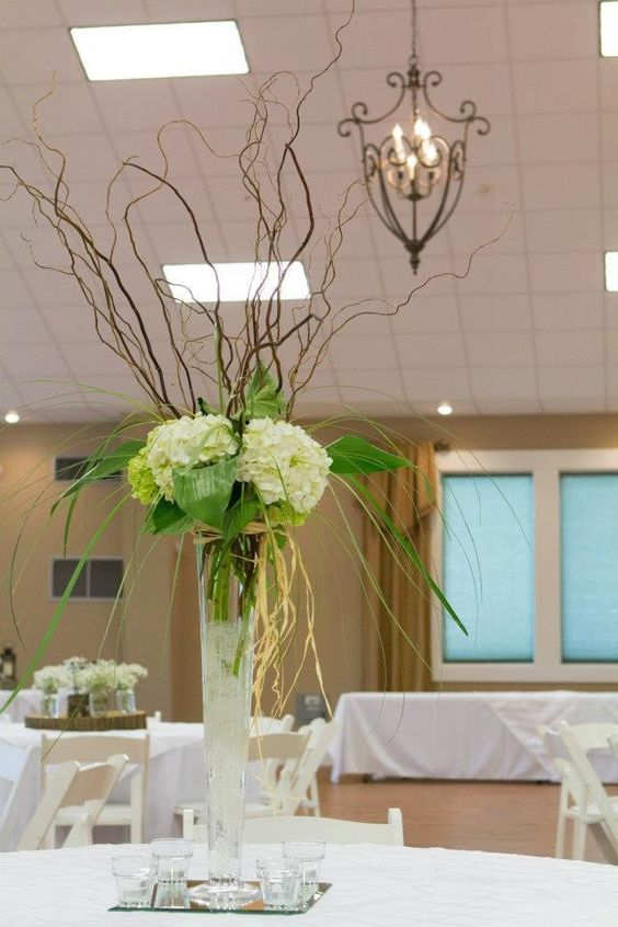 Curly willow tall centerpiece and hydrangeas on pinterest
