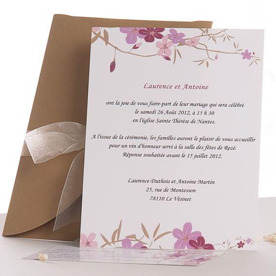 Faire part mariage rose romantique poche style ruban de soie jm329 faire part mariage poche - Faire part mariage oriental chic ...