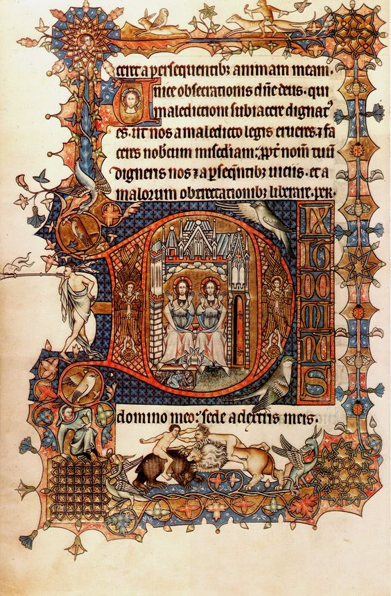 A page presenting Psalm 109 from the Ormesby Psalter, perhaps the single most memorable MS of East Anglian illumination