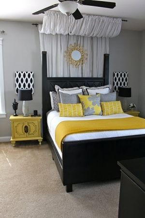 Love yellow and grey. Love the curtain drape by sheena