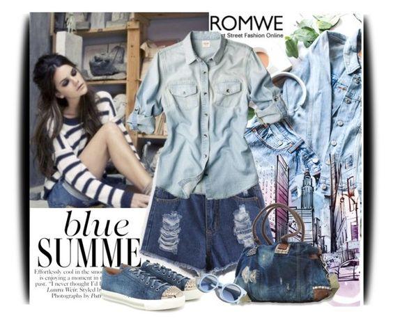 """Romwe contest: Blue Denim Shorts"" by amerlinakasumovic ❤ liked on Polyvore featuring Diesel, Miu Miu, Pinko and romwe"