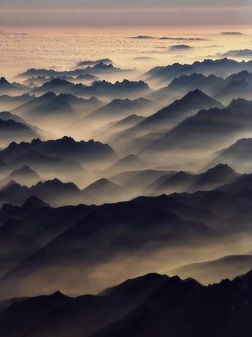 """Misty hills. [""""Other Worlds"""" - fictional landscapes crafted from real-earth photographs. Get inspired! http://matthewbrennan.net - short stories, blog, translation, editing.]"""