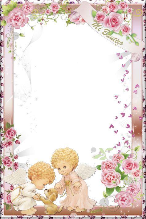 5 Espectaculares Marcos Para Bautizo En Png Marcos Gratis Para Baptism Cards Baby Print Art Christening Invitations Girl