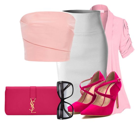 """""""pink"""" by the-luxurious-glam ❤ liked on Polyvore featuring Hot from Hollywood, LE3NO, Monique Lhuillier, Yves Saint Laurent and Tom Ford"""