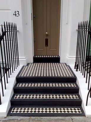 Black And White Tiles Leading To A Front Door Georgian Victorian Front Doors Front Door Steps Tile Steps