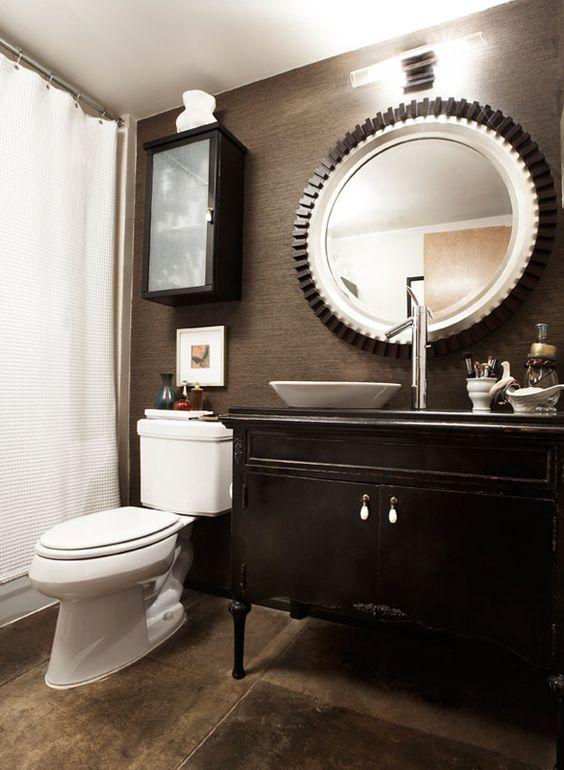 Dark masculine bathroom eclectic loft studio pulp for Manly bathroom