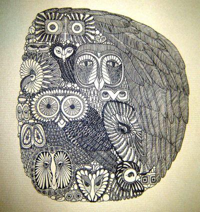zentangle inspiration.....stylized owl almagamation (by audelaine)