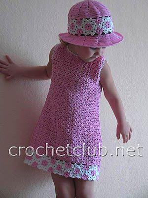 платье и шляпка для девочки / dress and hat for a girl. Description on Russian: