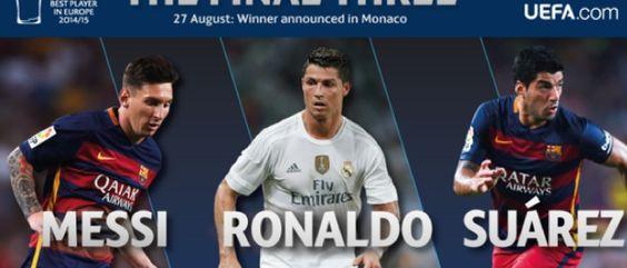 MEJOR JUGADOR UEFA Messi, abrumador con 49 votos; Suárez tuvo 3 y Cristiano sólo 2 Messi recibió el premio al Mejor Jugador de Europa. Es el primero que repite en un palmarés que había repartido sus ganadores entre Leo, Iniesta, Ribery y Cristiano.  http://futbol.as.com/futbol/2015/08/27/champions/1440694784_144418.html