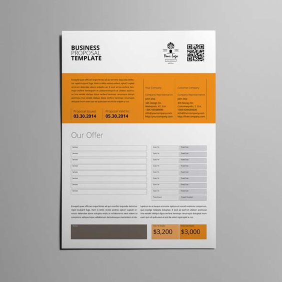 Business Proposal Template Single Page A4 CMYK \ Print Ready - business funding proposal template